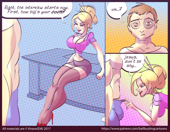 A multi panel comic of a hot blonde woman about to unzip a man's zipper to tease his cock.
