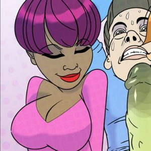 Three hot cartoon women all busty tease and deny their boss's huge cock while squeezing his bloated cum-filled balls